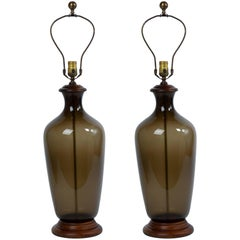 Pair Of 1970's Italian Smoke Glass Bottle Lamps