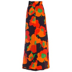 1970S Black & Red Silk Chiffon Poppy Print Fully Lined Maxi Skirt