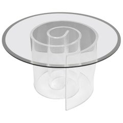 1970s Large Snail Coffee Table Lucite Base and Glass Tabletop