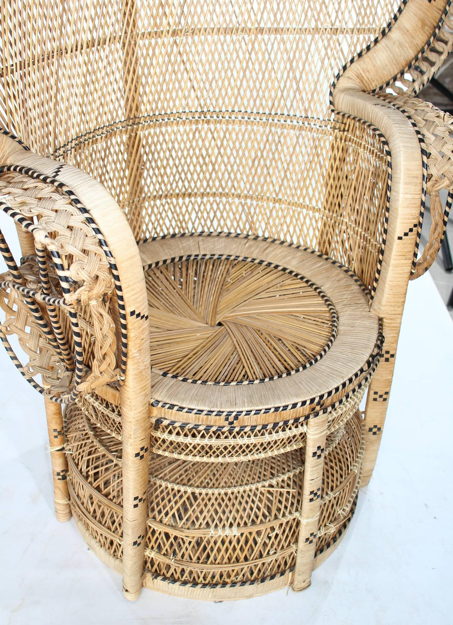 1970s Vintage Bohemian Emmanuelle Peacock Wicker Chair at