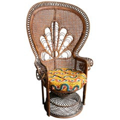 1970s Large Vintage Bohemian Emmanuelle / Peacock Wicker Chair
