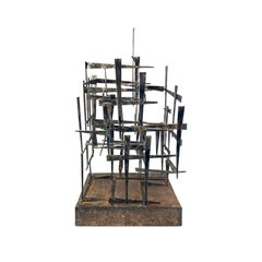 1970s Large Welded Brutalist Metal Sculpture