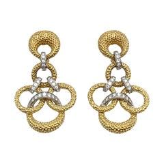 1970s Large Yellow Gold and Diamond Dangle Earrings