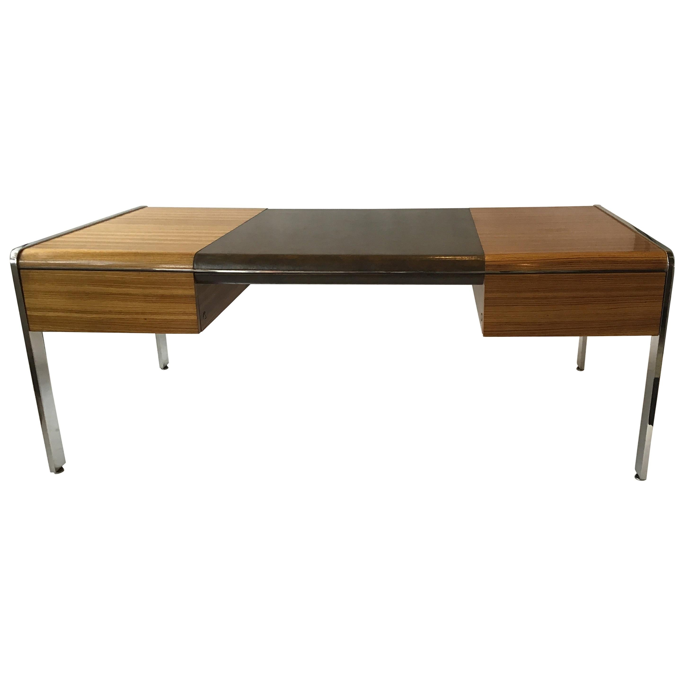 1970s Large Zebra Wood and Chrome Desk by Leon Rosen for Pace