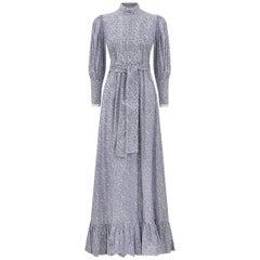1970s Laura Ashley Edwardian Style navy and White Cotton Dress