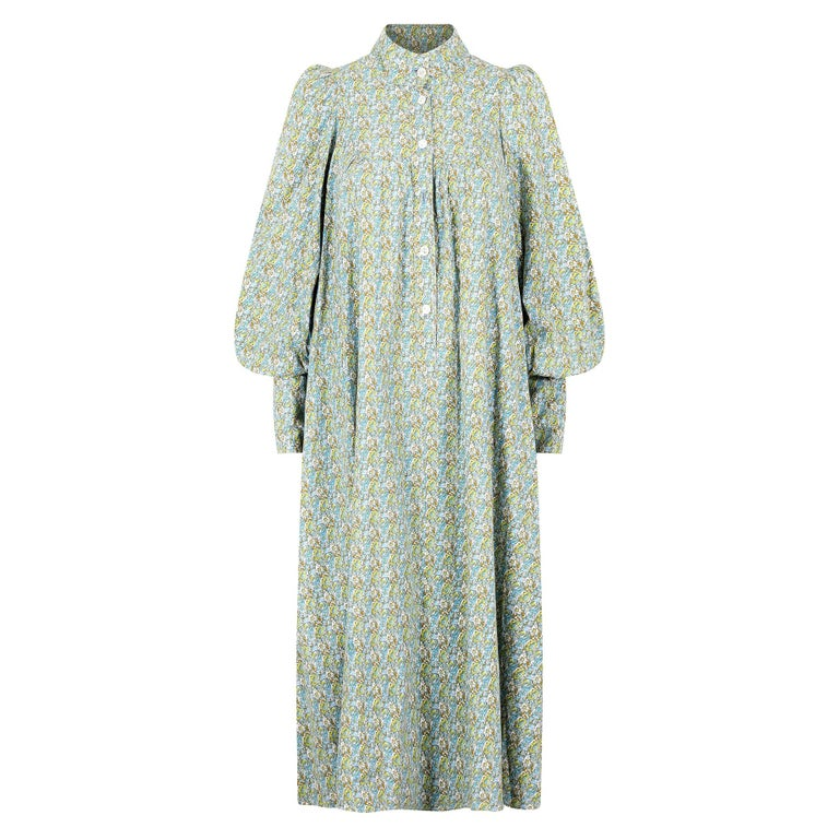 1970s Laura Ashley Floral Cotton Smock Dress For Sale