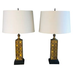 1970s Laurel Lamp Co Brass Chess Table Lamps, Pair