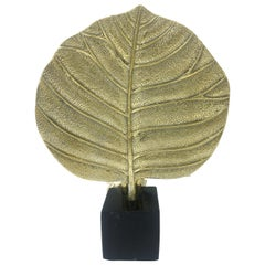 1970s Leaf Shaped Brass Table Lamp