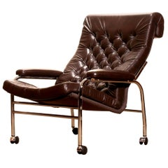 1970s, Leather and Chrome Lounge Chair 'Bore' by Noboru Nakamura