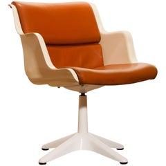 1970s, Leather Fiberglass Desk Side Armchair by Yrjö Kukkapuro for Haimi