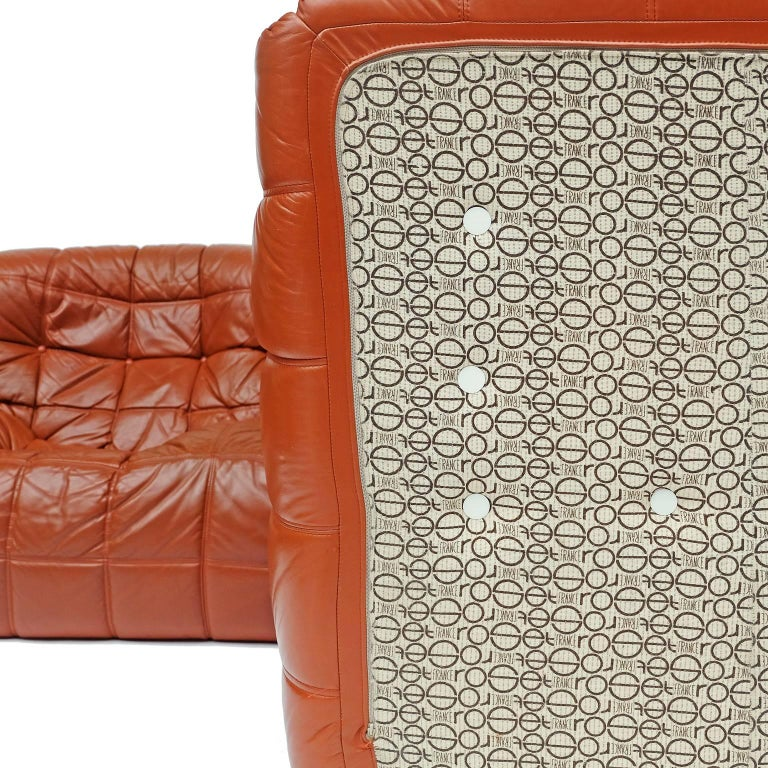 French 1970s Leather Kashima Sofa and Chair by Michel Ducaroy for Ligne Roset For Sale