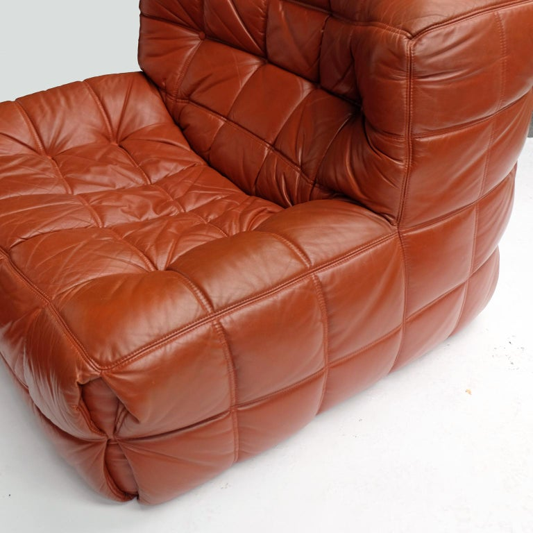 1970s Leather Kashima Sofa and Chair by Michel Ducaroy for Ligne Roset For Sale 2
