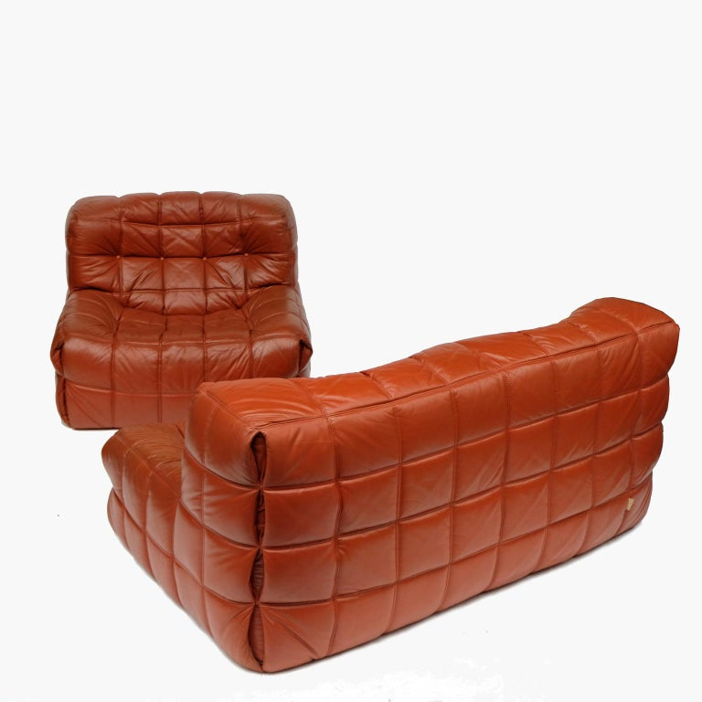 1970s Leather Kashima Sofa and Chair by Michel Ducaroy for Ligne Roset For Sale 3