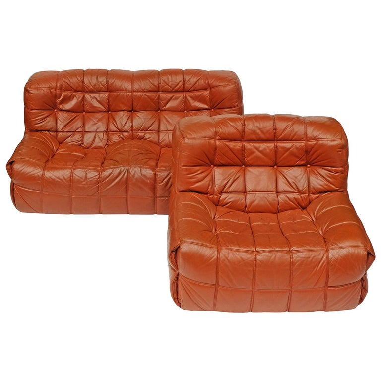 1970s Leather Kashima Sofa and Chair by Michel Ducaroy for Ligne Roset For Sale