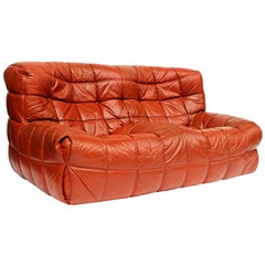 1970s Leather Kashima Two-Seat Sofa by Michel Ducaroy for Ligne Roset