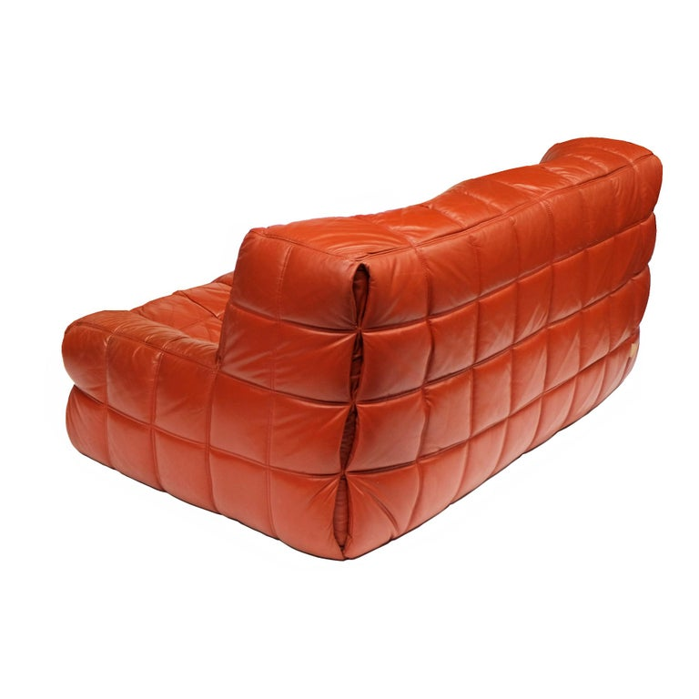 Two-seat sofa designed by Michel Ducaroy for Ligne Roset, 1976.  Foam seating elements upholstered in stitched leather.  Ligne Roset labels.  Sofa H 75cm x W 160cm x D 100cm.