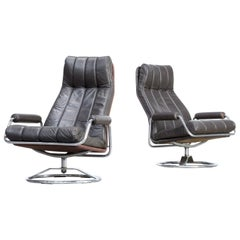 1970s Leather Lounge Fauteuil Swivel Chair Set of 2