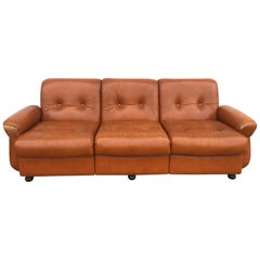 1970s Leather Sofa and Two Armchairs Vintage Light Used