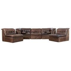 1970s Leather Sofa Set