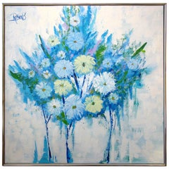 1970s Lee Reynolds Floral Abstract / Still Life Oil on Canvas