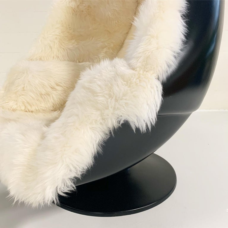 Mid-Century Modern 1970s Lee West Alpha Egg Chair and Ottoman Restored in New Zealand Sheepskin For Sale