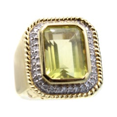 1970s Lemon Citrine Diamond Ring