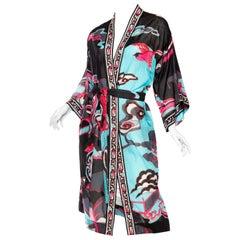 1970s LEONARD Black & Pink Cotton Voile Stylized Asian Printed Kimono