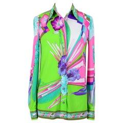 1970s LEONARD Fashion Paris Multicolor Floral Signature Print Blouse