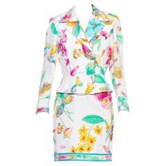 1970S LEONARD Multi  & Pastels Silk Skirt Suit