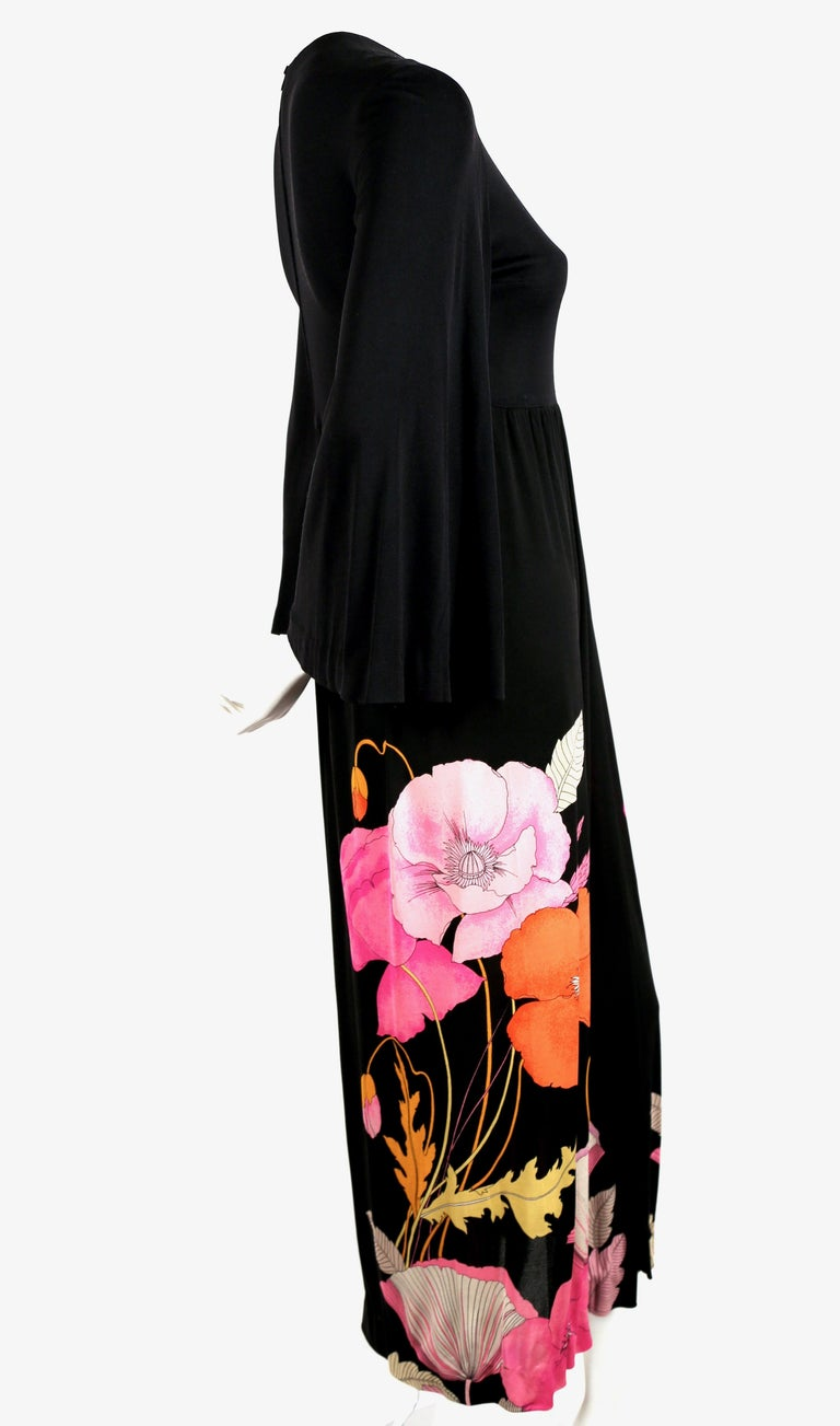 Black 1970's LEONARD Paris floral printed silk jersey dress For Sale