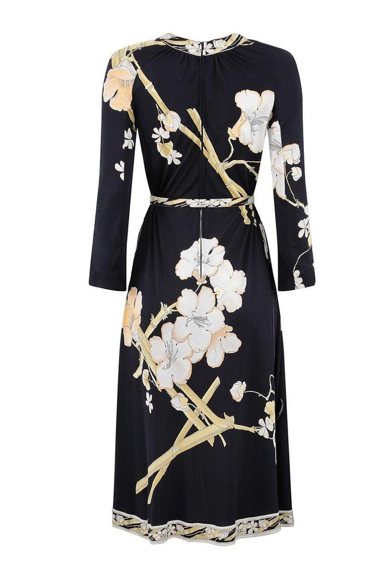 Black 1970s Leonard Silk Jersey Oriental Blossom Print Dress With Tie Belt For Sale