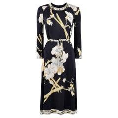 1970s Leonard Silk Jersey Oriental Blossom Print Dress With Tie Belt