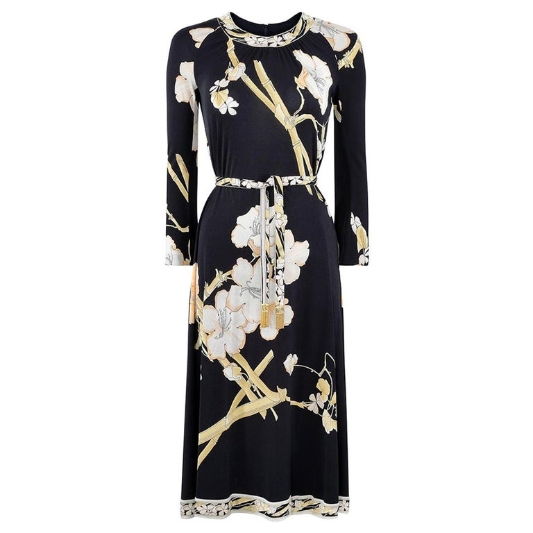 1970s Leonard Silk Jersey Oriental Blossom Print Dress With Tie Belt For Sale