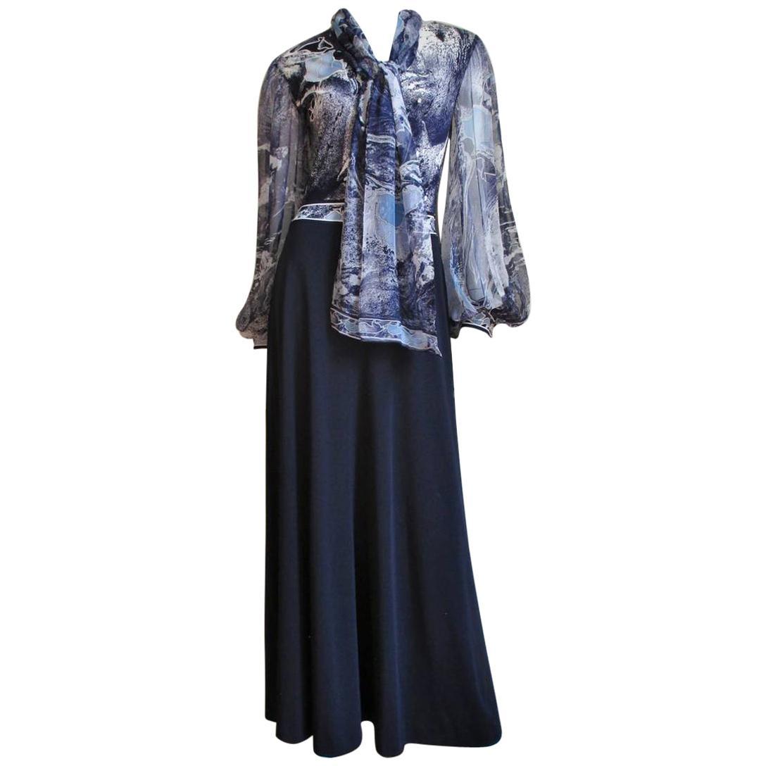 1970s Leonard Silk Tie Neck Color Block Maxi Dress