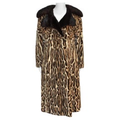 1970s STENCILED Leopard pattern Mink Coat with dark Mink Collar