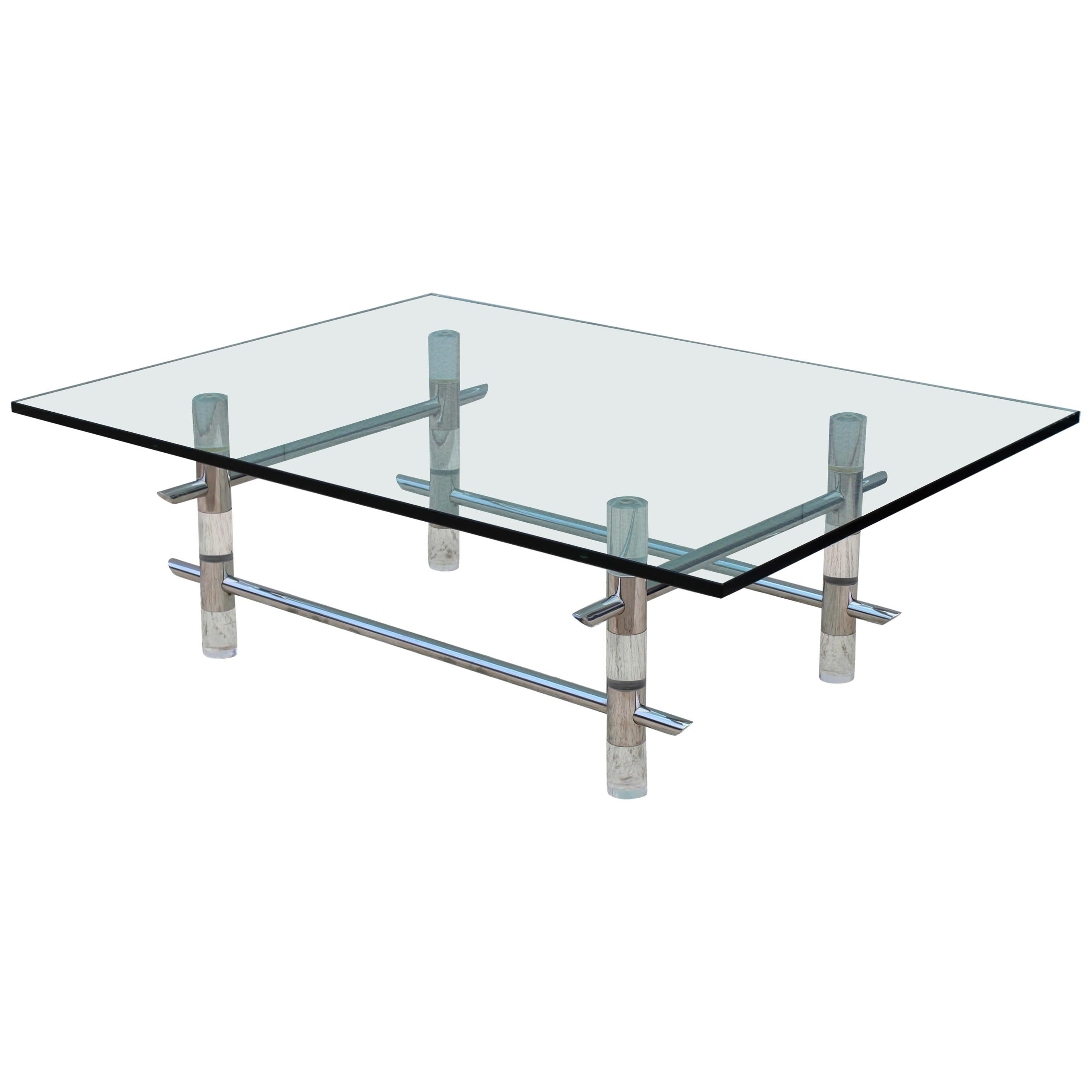 1970s Les Prismatiques Lucite and Chrome Coffee Table