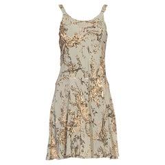 1970S Light Blue & Grey Bias Cut Rayon Crepe Baroque Floral Slip Dress