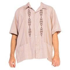 1970S Light Brown Cotton Blend Men's Cuban Cigar Shirt