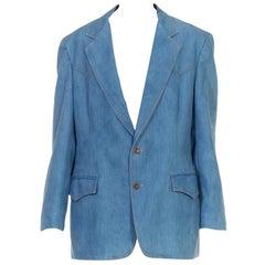 1970S Light Wash Cotton Denim Men's Blazer