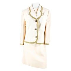 1970s Lilli Ann Ivory Wool Knit Suit with Brass Trim