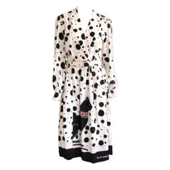 1970s Lilli Ann Silk Dress Polka Dot Black & Cream Cat