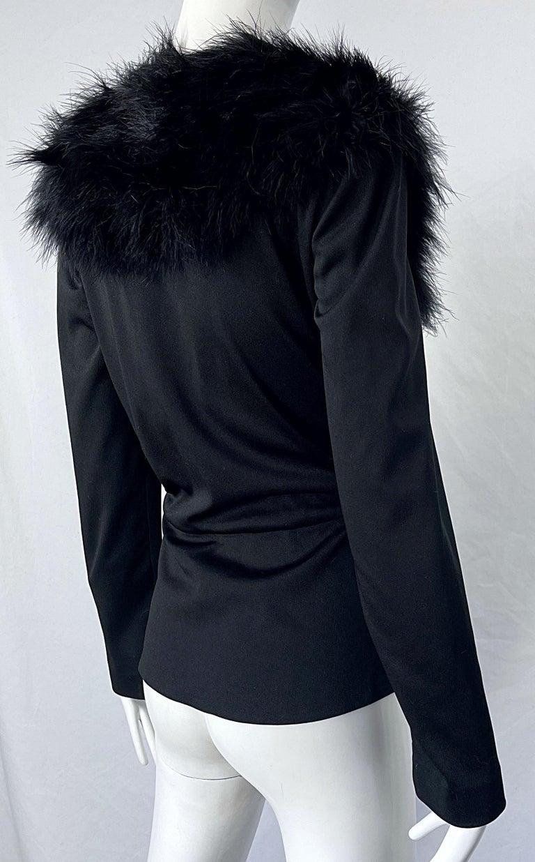 1970s Lilli Diamond Black Marabou Feathers Jersey Long Sleeve Vintage Cardigan  For Sale 6