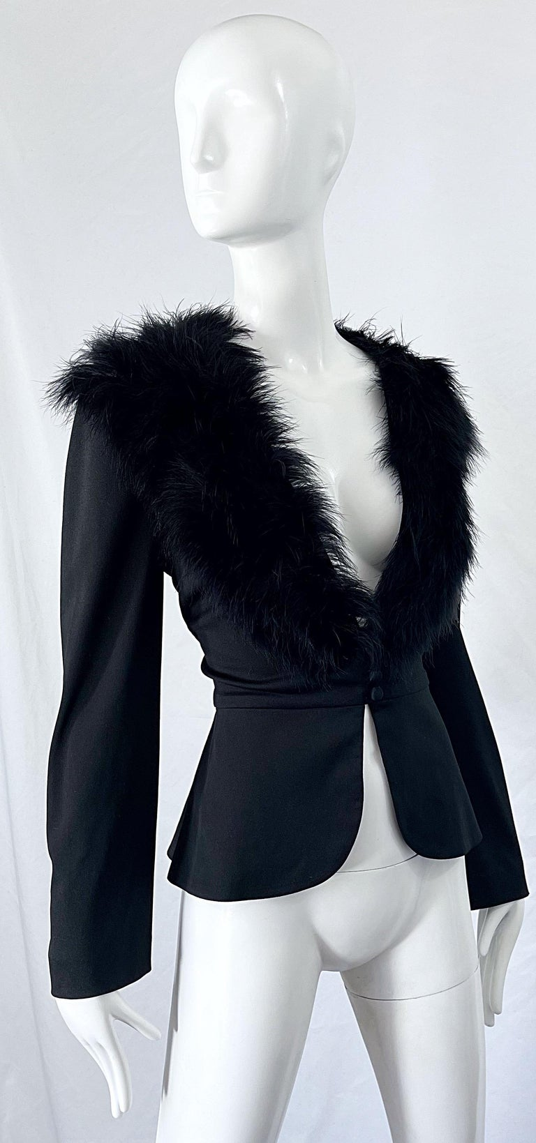 1970s Lilli Diamond Black Marabou Feathers Jersey Long Sleeve Vintage Cardigan  For Sale 7