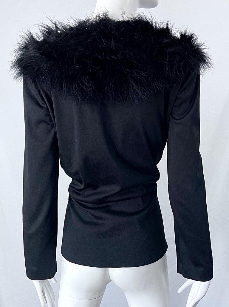 1970s Lilli Diamond Black Marabou Feathers Jersey Long Sleeve Vintage Cardigan  For Sale 8