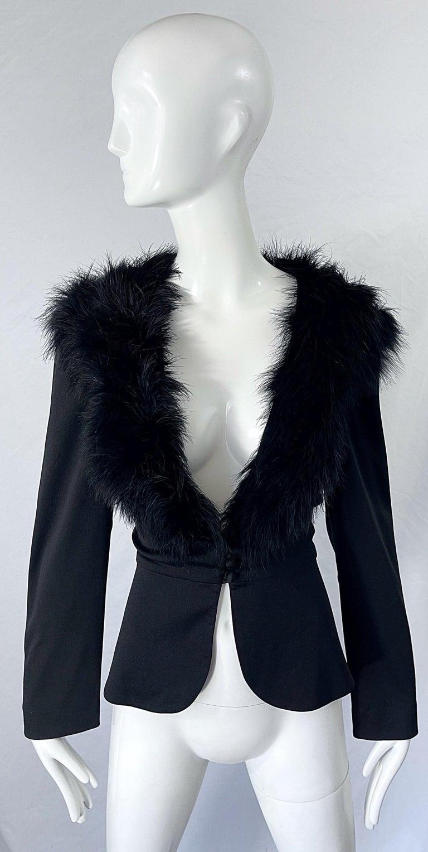 1970s Lilli Diamond Black Marabou Feathers Jersey Long Sleeve Vintage Cardigan  For Sale 9