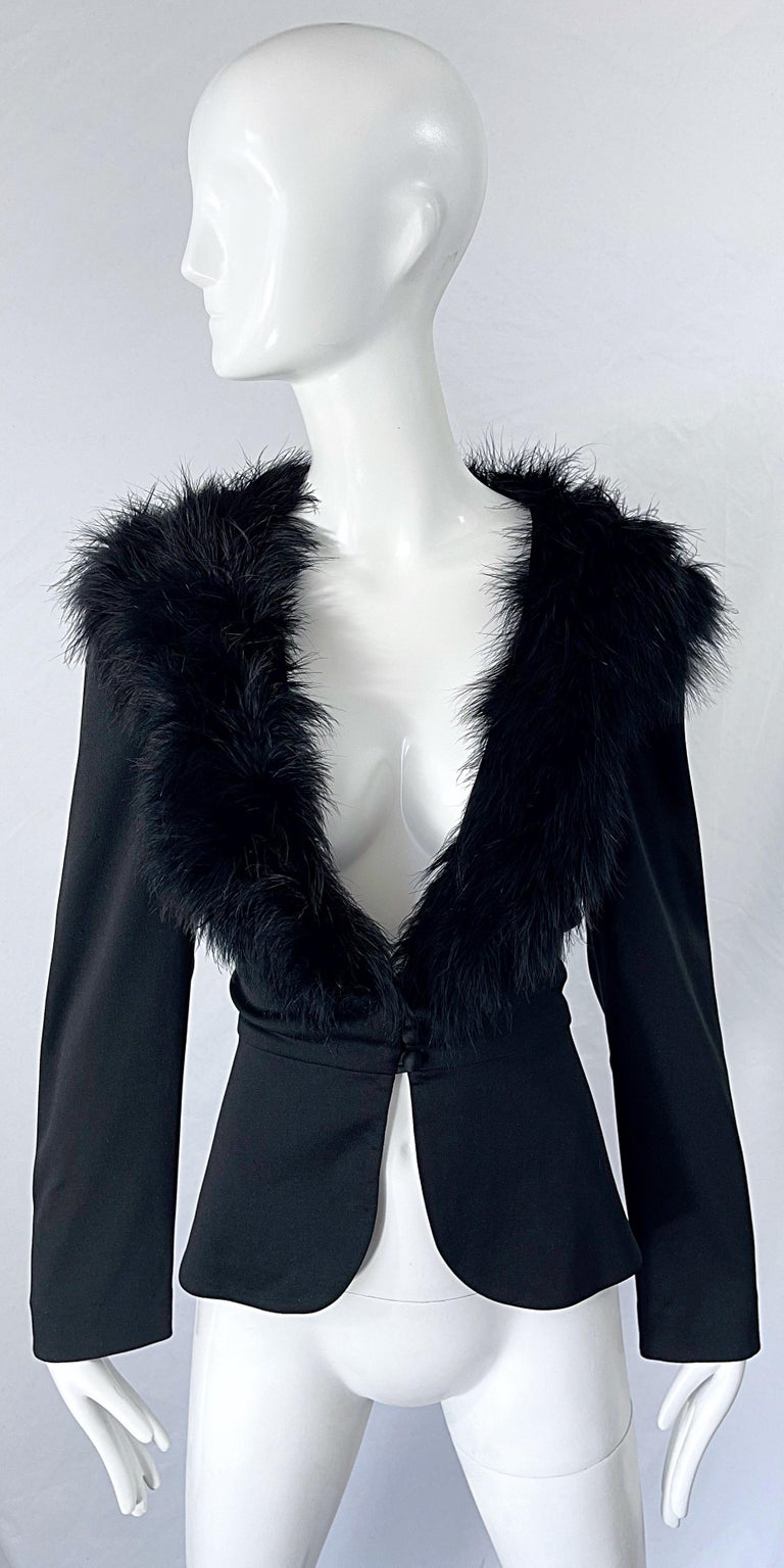 Chic early 70s LILLI DIAMOND black jersey marabou feather encrusted long sleeve cardigan top ! Features a tailored fit with buttons up the front center. Can easily be dressed up or down. Great with jeans, a skirt, shorts or over a dress. In great