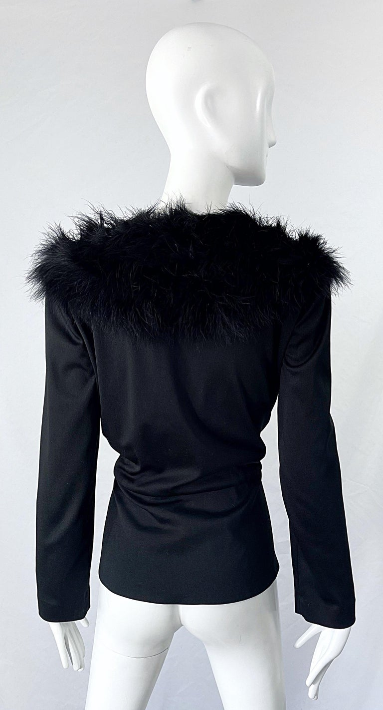 1970s Lilli Diamond Black Marabou Feathers Jersey Long Sleeve Vintage Cardigan  In Excellent Condition For Sale In Chicago, IL