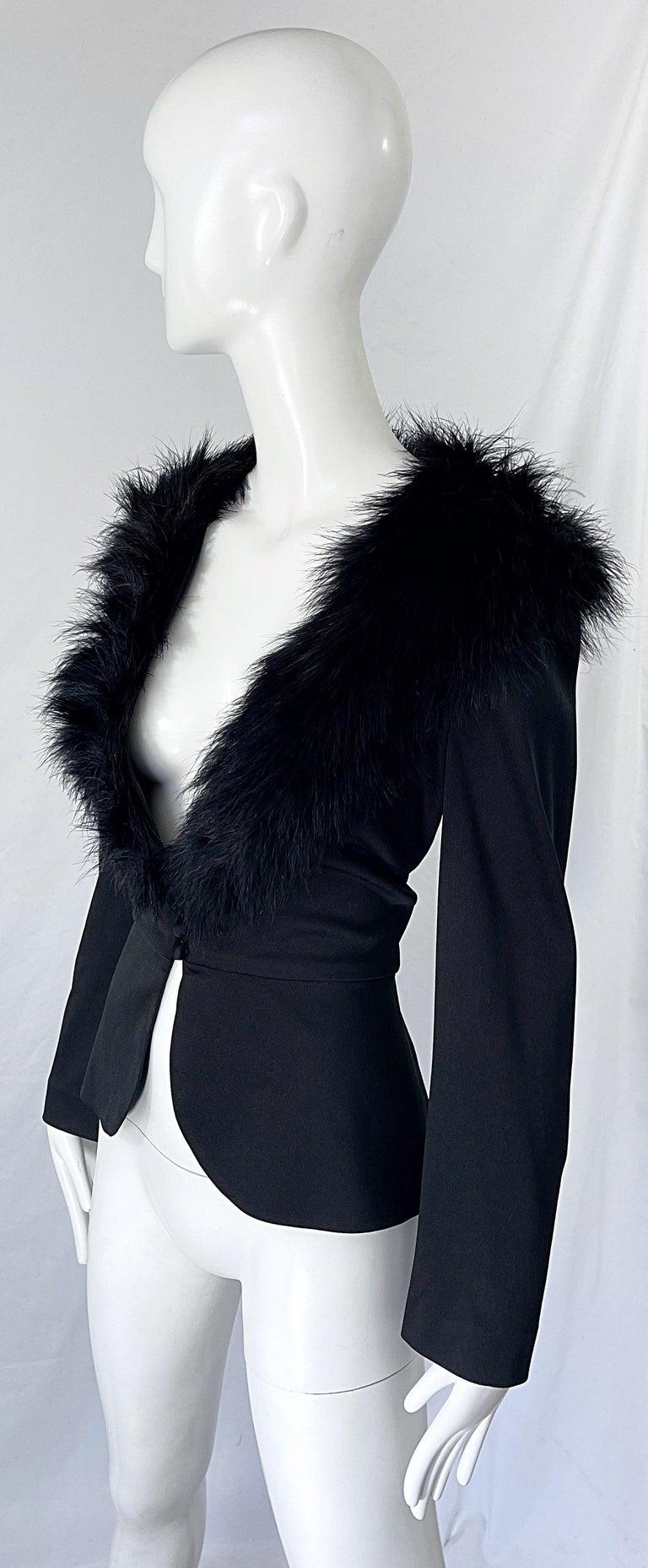 Women's 1970s Lilli Diamond Black Marabou Feathers Jersey Long Sleeve Vintage Cardigan  For Sale