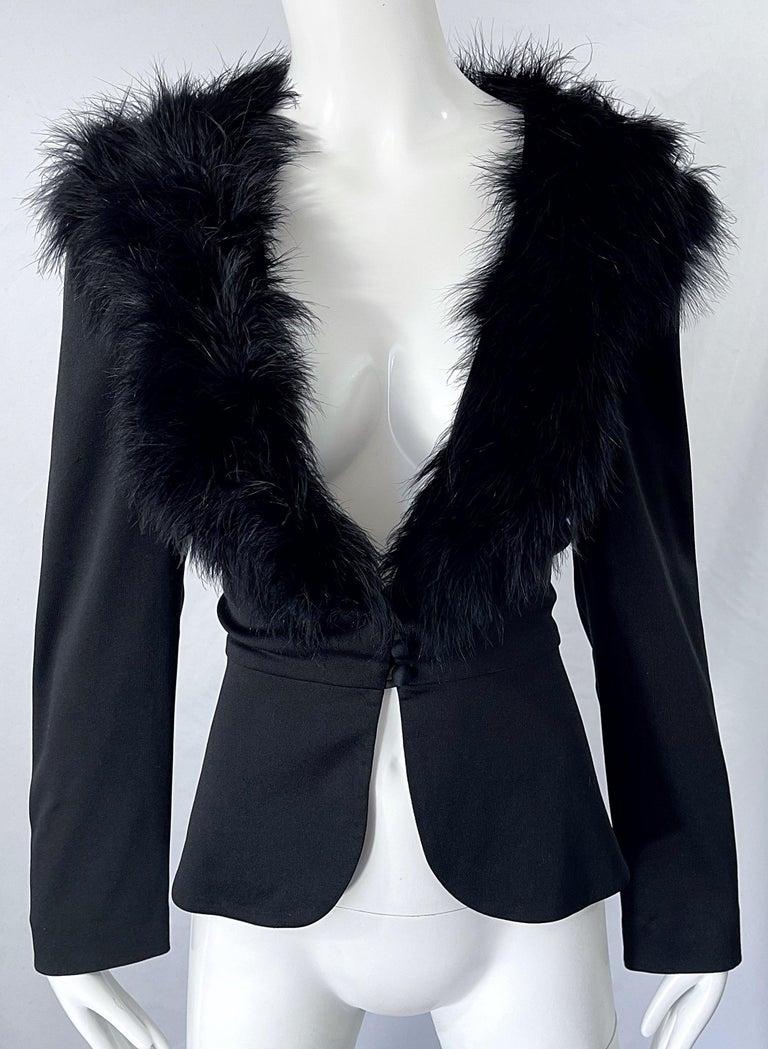 1970s Lilli Diamond Black Marabou Feathers Jersey Long Sleeve Vintage Cardigan  For Sale 1