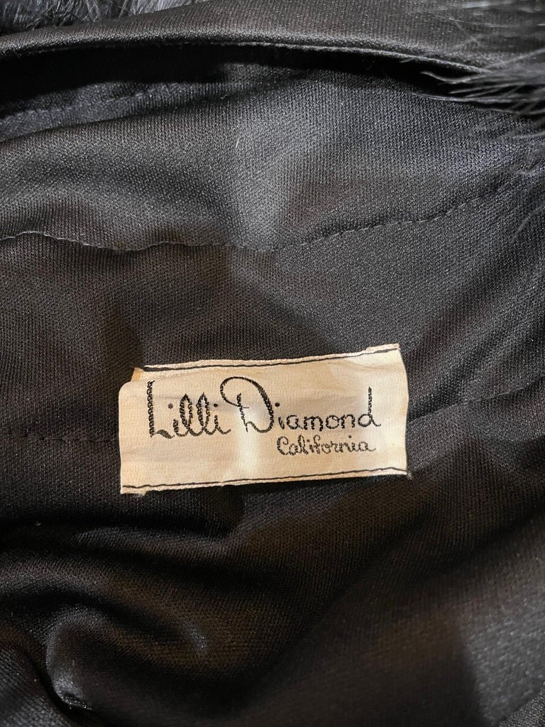 1970s Lilli Diamond Black Marabou Feathers Jersey Long Sleeve Vintage Cardigan  For Sale 2